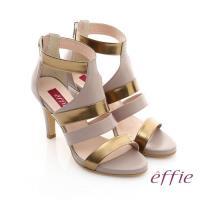 effie 修身美型系列 全真皮雙色拼接金箔露趾高跟鞋- 藕粉