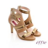 effie 修身美型系列 全真皮雙色拼接金箔露趾高跟鞋- 茶
