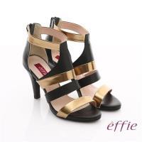 effie 修身美型系列 全真皮雙色拼接金箔露趾高跟鞋- 黑