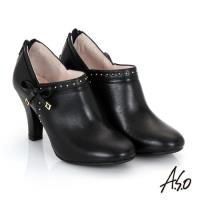 A.S.O 輕透美型 真皮鉚釘側蝴蝶結飾奈米高跟鞋- 黑