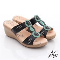 A.S.O 憶型氣墊 真皮縷空鑲鑽楔型拖鞋 黑
