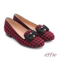 effie 都會舒適 全真皮豔彩格紋拼接珍珠蝴蝶低跟鞋- 紫紅