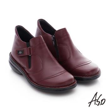 A.S.O 手縫氣墊-3E寬楦 真皮氣墊鞋- 酒紅