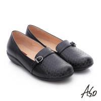 A.S.O 舒適樂活 全真皮六邊形車線奈米休閒鞋- 黑