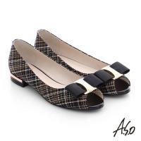 A.S.O 注目嬌點 格紋金屬織帶魚口跟鞋- 黑