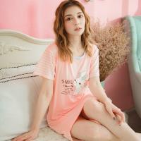 lingling日系 小兔背面條紋牛奶絲前短後長連身裙睡衣(全尺碼)