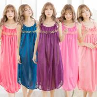lingling日系  刺繡蕾絲冰絲連身裙睡衣(大尺碼,共三色)