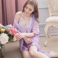 lingling日系 緞面細肩睡裙+蕾絲罩衫睡袍 二件式睡衣組 (全尺碼)