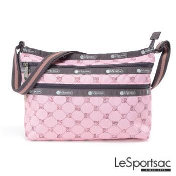 LeSportsac - Standard三層拉鍊斜背包(經典格紋/粉)