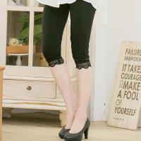 大尺碼-棉接蕾絲燙黑鑽七分褲內搭褲(蕾絲黑)lingling