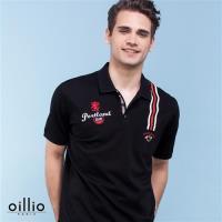 oillio歐洲貴族 男裝 短袖休閒 印花 POLO 春夏經典棉料款 黑色-透氣 乾爽 吸濕 排汗 不悶熱 上衣 彈性佳 萊卡纖維 彈力好