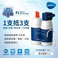 德國BRITA mypure P1硬水軟化櫥下型濾水系統 P1000濾芯(共2芯)