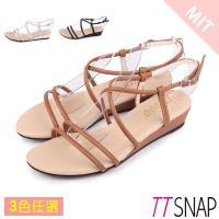TTSNAP楔型涼鞋-高雅交叉中跟羅馬涼鞋 黑/銀/棕/白/墨綠