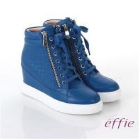effie 心機美型 全牛皮方格壓紋內增高休閒鞋- 藍