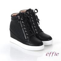 effie 心機美型 全牛皮方格壓紋內增高休閒鞋- 黑