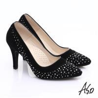 A.S.O 輕透美型 全真皮雙材質水鑽高跟鞋- 黑