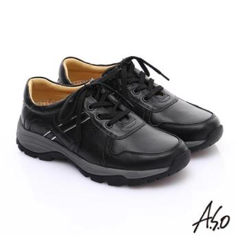 A.S.O 新一代奈米氣墊 全真皮沖孔壓紋綁帶休閒鞋 黑