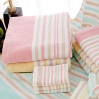 麥克條紋款-純棉紗布浴巾(單條)多色選擇 ~.~台灣興隆毛巾製~.~雙層織造