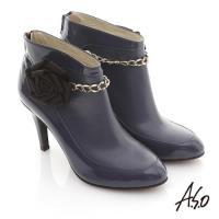A.S.O 機能美靴 全真皮花朵金鏈奈米踝靴- 藍
