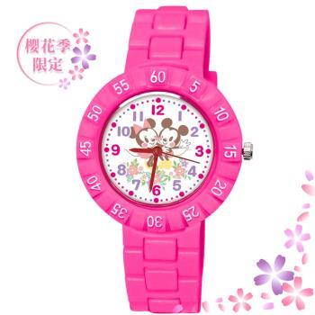 【Disney 迪士尼】櫻花季 Q版系列手錶 - 蹭蹭臉頰 米奇米妮 桃紅色(期間限定)