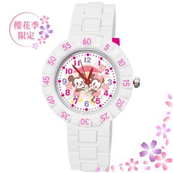 【Disney 迪士尼】 迪士尼櫻花季 系列手錶 - 為你撐傘 米奇米妮 白色 (期間限定)