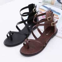ZUCCA【Z6604】皮革繞露趾平底涼鞋-黑色/棕色