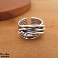 【海洋盒子】質感厚度層次線條開口式戒指.男女皆可.925純銀