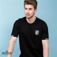 oillio歐洲貴族 男裝 短袖素面圓領T恤 簡單經典電繡 黑色-男款 精品服飾 透氣 乾爽 吸濕 排汗 彈性佳 萊卡纖維 彈力好 T-shirt