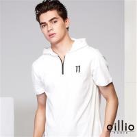 oillio歐洲貴族 男裝 彈性柔軟天絲棉連帽T恤 特色拼接布料 白色-男款 服飾 男上衣 吸濕 排汗 透氣 不悶熱 細膩觸感 舒適好穿 爸爸最愛