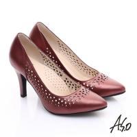 A.S.O 減壓美型 全真皮縷空浪漫高跟鞋 正紅
