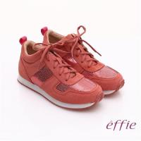 effie 心機美型 絨面真皮亮片綁帶奈米休閒鞋- 桃粉紅
