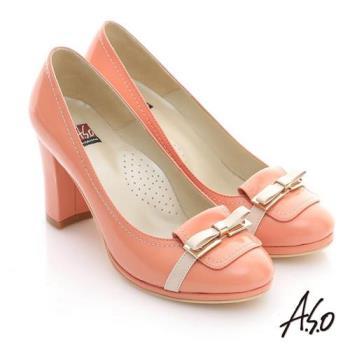 A.S.O 修身美型 鏡面牛皮立體蝴蝶高跟鞋- 橘