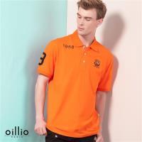 oillio歐洲貴族 男裝 彈力舒適透氣 短袖POLO衫 簡約簡單設計 橘色-男款 上衣 休閒衫 不悶熱 吸濕 排汗 萊卡彈力 天然棉
