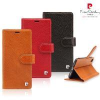 [ iPhone XR ] Pierre Cardin法國皮爾卡登6.1吋荔枝紋側翻式卡袋款手機套