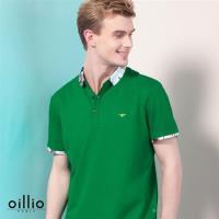 oillio歐洲貴族 男裝 超柔透氣 短袖POLO衫 綠野迷情設計 綠色-男款 上衣 精品休閒 透氣 吸濕 排汗 極品服裝  吸排 高級質感 舒適