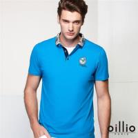 oillio歐洲貴族 男裝 短袖修身POLO衫 超柔透氣棉衣料 藍色-男款 服飾 男上衣 短袖 吸濕 排汗 舒適 透氣 乾爽 彈力 彈性 萊卡