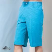oillio歐洲貴族 男裝 超柔布料質感 抗皺 短褲 點點花紋款式 藍色-男款 吸濕 排汗 舒適 冰涼 冰絲 觸感佳 休閒褲 運動褲 服飾