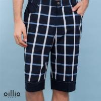 oillio歐洲貴族 男裝 休閒格紋直筒短褲 舒適透氣純棉質感柔順布料 藍色-男款 五分褲 休閒褲 吸濕排汗 舒適不悶熱 加大尺寸 大腰圍