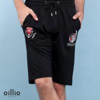 oillio歐洲貴族 男裝 質感超柔彈力休閒短褲 老虎閃電刺繡 黑色-男款 吸濕 排汗 透氣 萊卡彈力 不悶熱 乾爽舒適 大口袋 男裝精品 運動褲