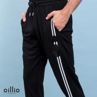 oillio 歐洲貴族 男裝 休閒縮口修身長褲 右褲管條紋 彈力棉衣料 黑色-男款 休閒運動褲子 吸濕排汗 不悶熱 舒適好穿 透氣彈力 精品服裝