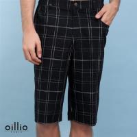 oillio 歐洲貴族 男裝 休閒細條格紋鬆緊短褲 純棉布料舒適穿搭 黑色-男款 精品服飾 裝櫃男裝 運動褲 吸濕排汗 透氣 不悶 加大尺碼