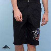 oillio歐洲貴族 男裝 休閒圖案印花短褲 100%純棉棉料休閒款 黑色-男款 吸濕 排汗 不悶熱 優質棉料 高級服裝 送禮品牌推薦 運動褲 大尺碼