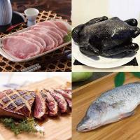 [雞鴨魚肉好吃組FA](泰辰烏骨雞(全雞)+輝帛頂級鴨胸+家香豬里肌豬排+簡單生鮮金目鱸魚)
