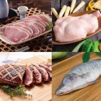 [雞鴨魚肉好吃組2FA](十八養場去骨雞腿肉+輝帛頂級鴨胸+家香豬里肌豬排*1+簡單生鮮金目鱸魚)
