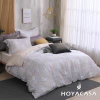 HOYACASA 雙人60支抗菌天絲兩用被床包四件組+贈可水洗乳膠枕套一對(顏色隨機)-型(網)