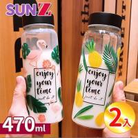 SUNZ-日系熱帶風時尚寬口耐熱玻璃杯470ml(2入組-贈杯刷)