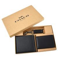 COACH 新男款素面 荔枝紋真皮短夾/證件夾/鑰匙圈禮盒組-黑色