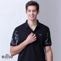 oillio歐洲貴族 男裝 吸濕排汗透氣 短袖POLO衫 特色雙袖印花 黑色-男款 不悶熱 高級全棉 休閒精品服飾 抗過敏
