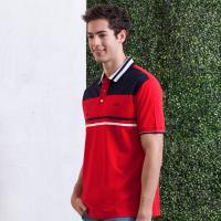 oillio歐洲貴族 男裝 舒適透氣棉料短袖POLO衫 拼接設計 電腦刺繡 紅色-男款 全棉 吸濕 透氣