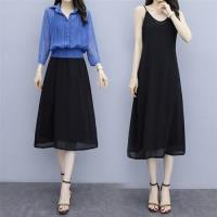 【KVOLL】優雅修身吊帶背心裙+排釦外衫XL-5XL